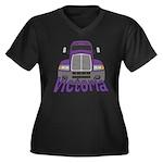 Trucker Victoria Women's Plus Size V-Neck Dark T-S