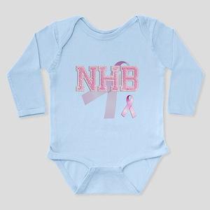 NHB initials, Pink Ribbon, Long Sleeve Infant Body