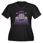 Trucker Vivienne Women's Plus Size V-Neck Dark T-S