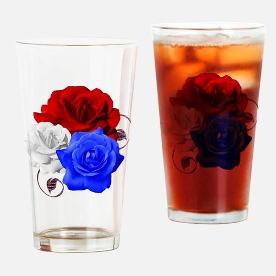 Patriotic Flowers Drinking Glass
