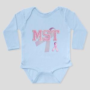 MST initials, Pink Ribbon, Long Sleeve Infant Body