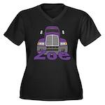 Trucker Zoe Women's Plus Size V-Neck Dark T-Shirt