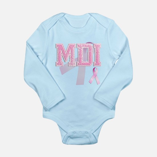 MDI initials, Pink Ribbon, Long Sleeve Infant Body