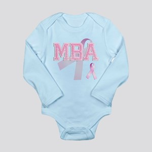 MBA initials, Pink Ribbon, Long Sleeve Infant Body