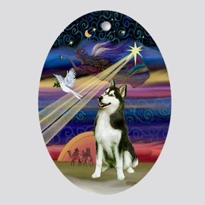 Xmas Star Siberian Husky (#3) Oval Ornament
