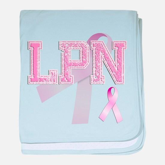 LPN initials, Pink Ribbon, baby blanket