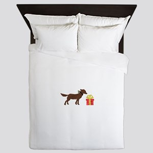 Dog and Christmas Gift Queen Duvet