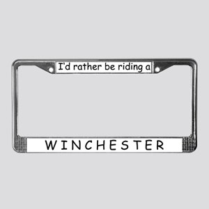 Riding a Winchester License Plate Frame