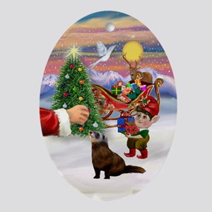 Santa's Ferret Oval Ornament