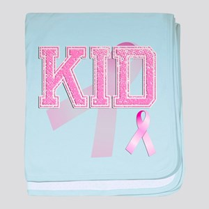 KID initials, Pink Ribbon, baby blanket