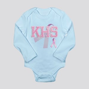 KHS initials, Pink Ribbon, Long Sleeve Infant Body