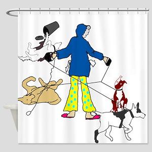 Walking dogs Shower Curtain