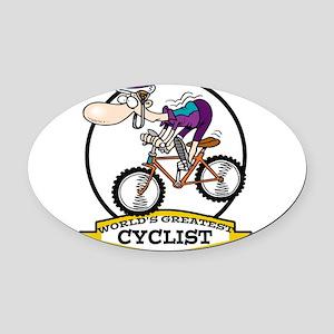 WORLDS GREATEST CYCLIST MEN CARTOON Oval Car M