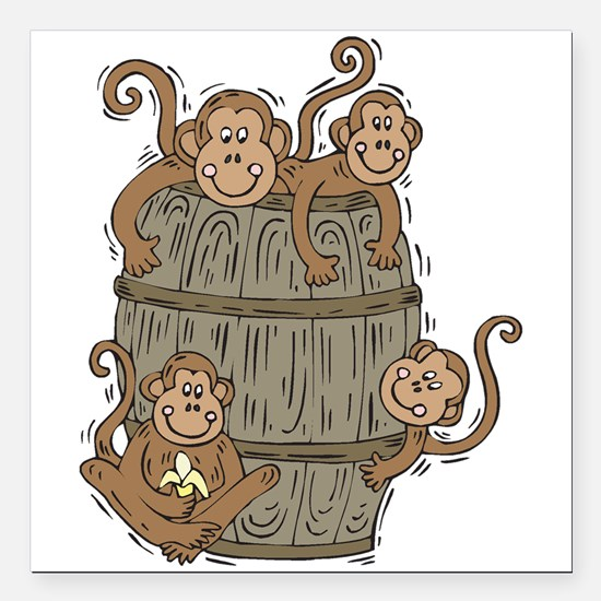 "barrel of monkeys.png Square Car Magnet 3"" x 3"""