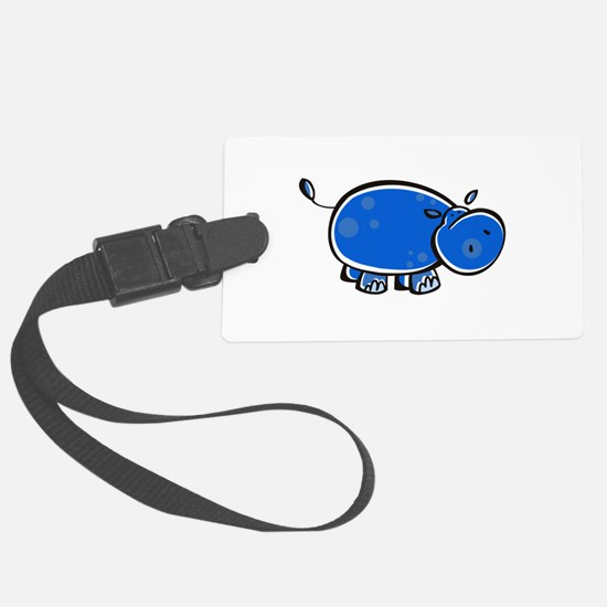bright blue hippo.png Luggage Tag