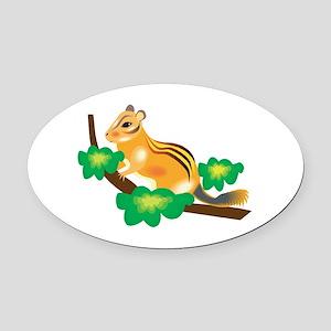 chipmunk on branch Oval Car Magnet