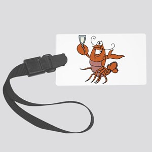 toasting wine lobster Large Luggage Tag