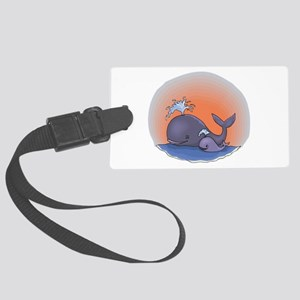 cute mommy and baby whale Large Luggage Tag