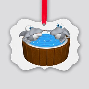 sharks in a hot tub Picture Ornament