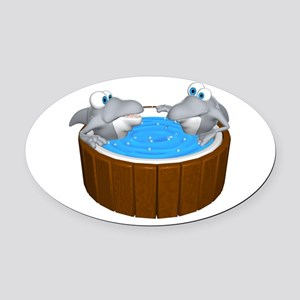 sharks in a hot tub Oval Car Magnet
