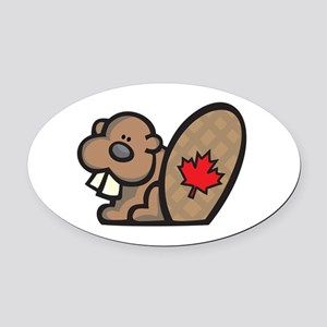 cute canadian beaver Oval Car Magnet