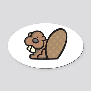 cute lil beaver Oval Car Magnet