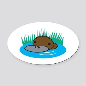 silly platypus in the water Oval Car Magnet