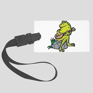 frog playing guitar Large Luggage Tag