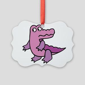 purple alligator Picture Ornament