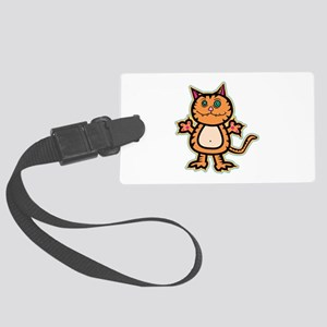 psychedelic kitty Large Luggage Tag