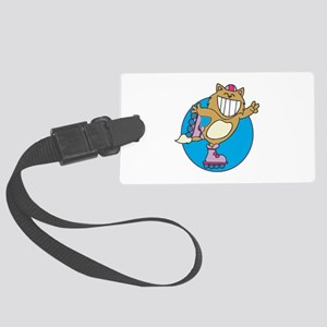 kitty on roller skates copy Large Luggage Tag