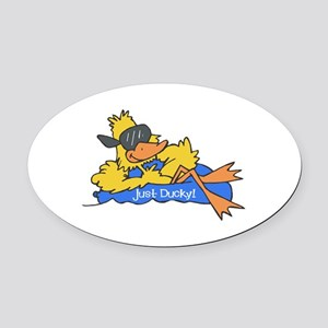 duck on raft Oval Car Magnet