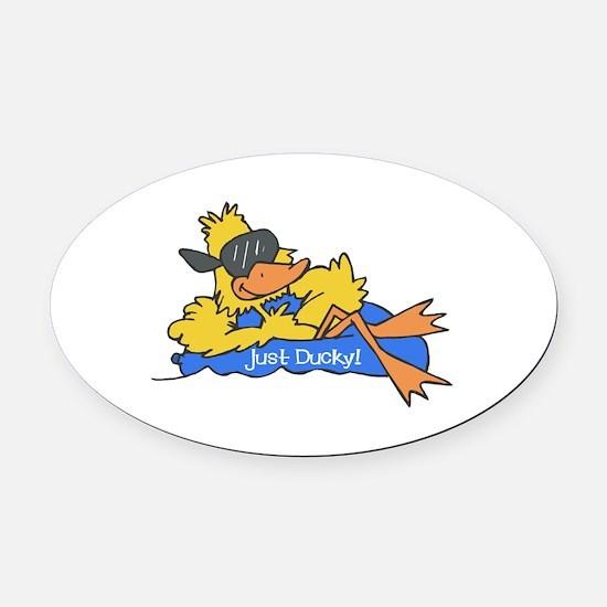duck on raft.psd Oval Car Magnet