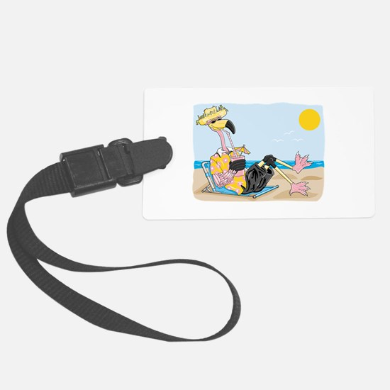 funny flamingo on vacation.png Luggage Tag