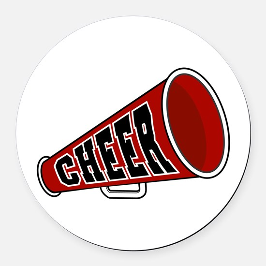 red cheerleader blullhorn copy.jpg Round Car Magne