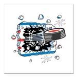 hockey puck breakthru copy.png Square Car Magnet 3