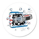 hockey puck breakthru copy.png Round Car Magnet