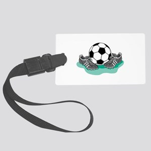 soccer ball and kleats copy Large Luggage Tag