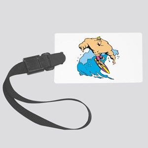 hunk body builder surfer Large Luggage Tag
