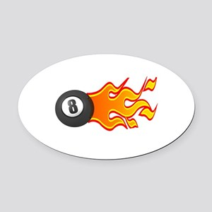 8ball on fire copy Oval Car Magnet