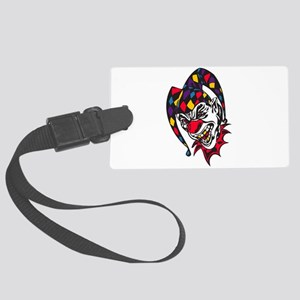 mad evil jester clown Large Luggage Tag
