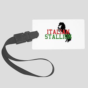italian stallion black Large Luggage Tag