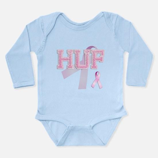 HUF initials, Pink Ribbon, Long Sleeve Infant Body