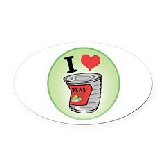 i love peas copy.jpg Oval Car Magnet
