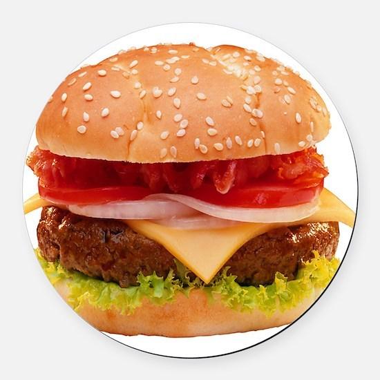 yummy cheeseburger photo Round Car Magnet