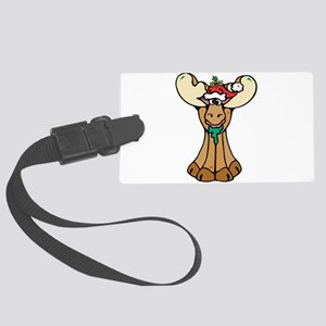 silly christmas moose Large Luggage Tag