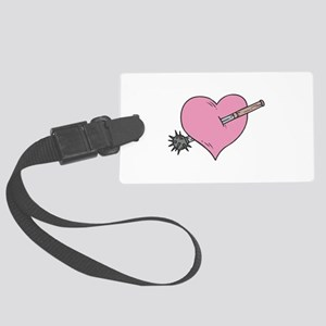 heart with mace copy Large Luggage Tag