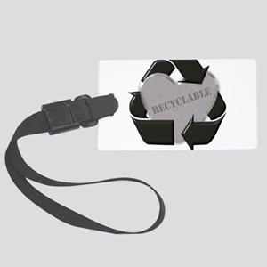 recycle heeart copy Large Luggage Tag