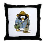 Treasure Hunter Penguin Throw Pillow