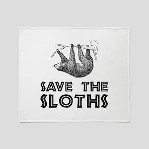 Save The Sloths Throw Blanket